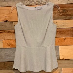 NWT Banana Republic Grey Sleeveless Peplum Top